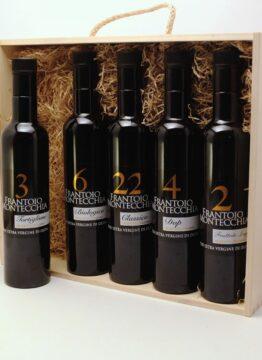Frantoio-Montecchia-0,25-litri-regalo-scatola-legno-Olio-Extra-Vergine-Morro-D'Oro-Teramo-Abruzzo