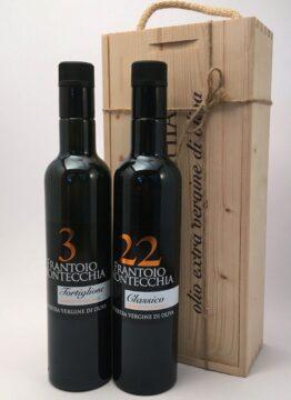 Frantoio-Montecchia-bottiglie-scatola-legno-due-Olio-Extra-Vergine-Morro-D'Oro-Teramo-Abruzzo